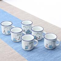 定制 陶瓷杯子最小号水杯办公司茶杯定制经典复古怀旧仿搪瓷杯套装茶缸