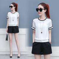 雪纺衫女夏季新款韩版短袖小衫圆领时尚短款衬衫订珠打底衫上衣