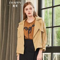 海贝2018秋季新款女西装领长袖个性侧绑带卡其色短款风衣外套时尚