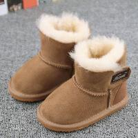 冬季儿童雪地羊皮毛一体男女童小宝宝短子软底婴儿学步棉