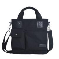 新款男士帆布包单肩包韩版潮休闲斜挎包商务男包包竖款手提公文包 黑色