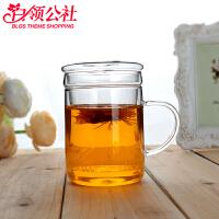 白领公社 茶杯 创意家用水具耐热玻璃杯透明带盖过滤花茶杯双层加厚办公水杯子可微波加热茶具家居日用品