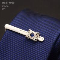 2018新款领带夹男士商务正装定制职业水晶韩版简约银色金色夹子礼盒装