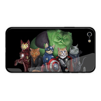 噬元兽苹果X手机壳7p猫咪8plus复仇者联盟iPhoneXR钢化玻璃XS MAX iPhone6/6s 轻薄款玻璃壳