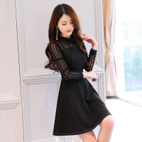 2018春季新款女装时尚翻领百搭蕾丝修身气质A字连衣裙 黑色