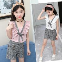 女童套装夏装新款时尚韩版儿童夏季女孩洋气时髦两件套潮