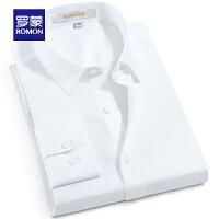 Romon/罗蒙长袖衬衫男春季时尚修身纯棉工装中青年商务免烫衬衣男