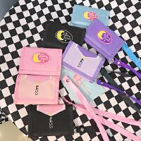 韩国软妹可爱纯色日文刺绣挂脖折叠短款钱包创意手拿小包零钱包女