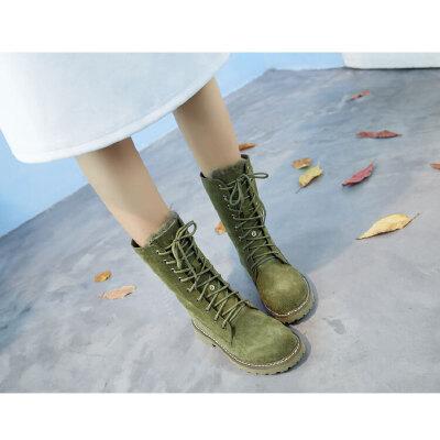 雪地靴女皮毛一体学生英伦马丁靴加绒短靴真皮棉靴保暖防滑中筒靴SN3164