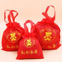 结婚用品喜糖盒子大小号无纺布满月宝宝喜蛋糖果祝寿袋子49个