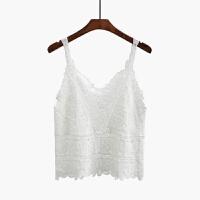 春夏秋装打底短款小吊带海边度假镂空蕾丝外穿搭针织背心女 白色 均码