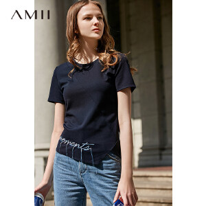 【到手价:83.9元】Amii极简帅气时尚港风T恤2019夏季新款撞色绣花流苏不规则摆上衣