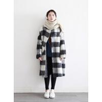 冬季新款韩版宽松格子中长款毛呢外套女加厚学生学院风呢子大衣潮