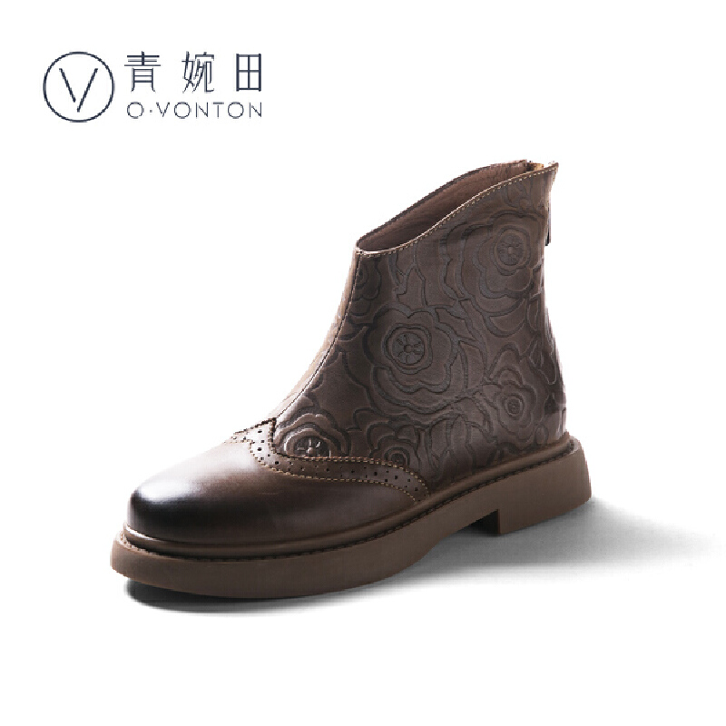 青婉田马丁靴女英伦风个性复古2018新款靴子女厚底短靴民族风女鞋尺码正常,脚感舒适,头层牛皮
