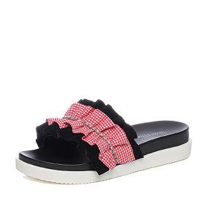 Teenmix/天美意2018夏羊绒皮革/纺织品钻饰平跟女拖鞋CDC08BT8