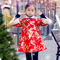 儿童女唐装秋冬宝宝科装周岁过年加厚拜年大衣服小女孩改良旗袍潮 烫金旗袍大衣(不能机洗)