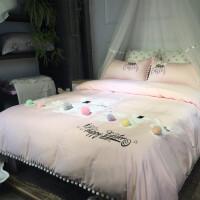 卡通全棉四件套 长绒棉刺绣贴布绣兔子毛球花边儿童床上用品