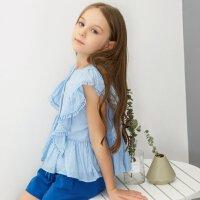 【1件2.5折到手价:63.8】米喜迪mecity童装19夏女童浪漫丝绵荷叶边短袖衬衫