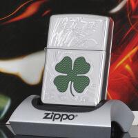 美国芝宝Zippo打火机 镀铬/镜面/雕刻 24699幸运四叶草
