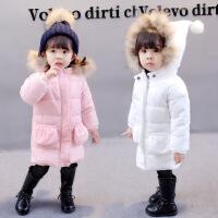 中小童2018儿童冬装女童棉衣大毛领圣诞帽纯色加厚外套潮