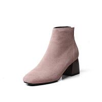秋冬季后拉链方头靴子女短靴粗跟女靴高跟及踝靴短筒单靴2018新款