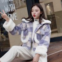 №【2019新款】冬天年轻人穿的短款毛呢外套女韩版羊羔毛加厚宽松学生格子呢子大衣