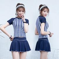 新款泳衣三件套分体裙式保守短袖女小清新韩国条纹平角裤泳装温泉