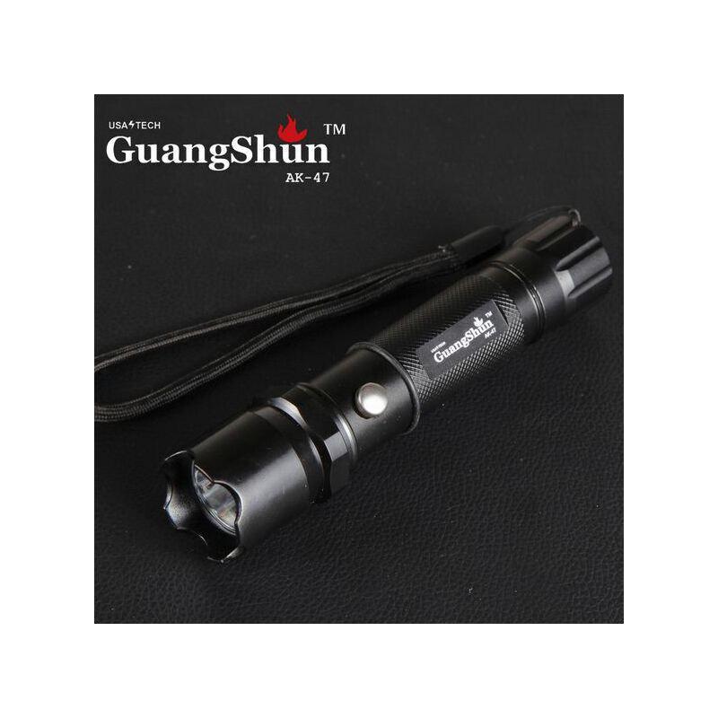 AK-47户外手电筒 强光LED充电手电筒 3档铝合金手电6800毫安