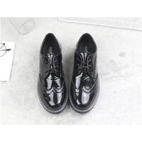漆皮英伦风小皮鞋女布洛克学院风韩版平底系带复古百搭单鞋学生鞋