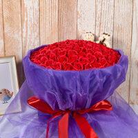 情人节礼物送女友99朵玫瑰花香皂花礼盒小熊肥皂花仿真花假花 Z-红 99朵