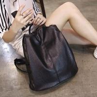 女士双肩包女包包休闲旅行背包日韩版简约pu书包女潮 黑色