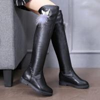 靴子秋冬弹力靴女孩高筒过膝靴子12初高中学生14大童冬靴15岁长靴
