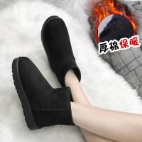 短靴冬季雪地靴女平底短筒靴子加厚加绒保暖棉靴学生棉鞋 黑 色