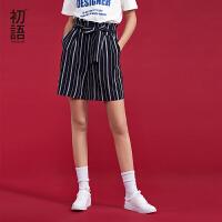 初语2018夏季新款 韩版ulzzang百搭系带高腰休闲短裤女宽松阔腿裤