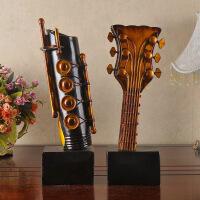 ?创意家居摆件办公室置物架抽象乐器吉他酒吧餐厅摆设装饰品 图片色