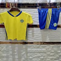 2018世界杯瑞典主场儿童足球服套装 小孩球衣 宝宝球服队服足球服黄色 印字印号 瑞典