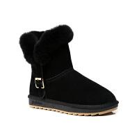 雪地靴女皮毛一�w2018新款潮短筒�n版百搭�W生冬季保暖加�q棉鞋