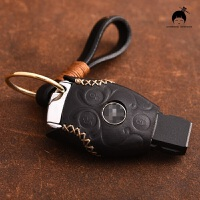 于奔驰钥匙包套C级C200E级S级GLAGLCGLE智能遥控钥匙壳钥匙套 奔驰 三键 棕线