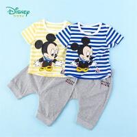 【3件3折到手价:64.5】迪士尼Disney童装 男童套装米老鼠印花条纹短袖上衣纯棉休闲哈伦裤两件套夏季新品儿童衣服