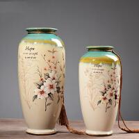酒柜装饰品摆件欧式客厅玄关复古陶瓷花瓶盘子奢华二件套
