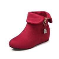 女童靴子韩版2018冬秋小女孩公主短靴水钻两穿童鞋甜美马丁靴单靴真皮