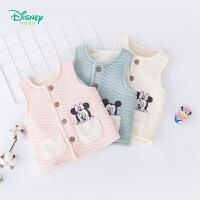 【129元3件】迪士尼Disney童装 男女宝宝加绒马甲三层暖棉秋季新品保暖外着加绒背心193S1131