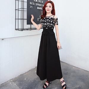 女装夏季新2018时尚气质显瘦漏肩假两件连体裤裙