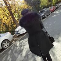 №【2019新款】冬天美女穿的2018冬装新款羽绒服女中长款收腰显瘦加厚超大毛领韩版工装外套潮