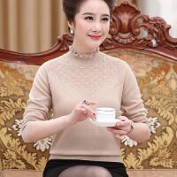 中老年人毛衣女秋冬打底衫50-60岁0%全羊毛妈妈装短款羊毛衫女
