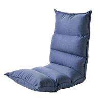 懒人沙发榻榻米可折叠简易单人阳台卧室小沙发床可爱女孩迷你躺椅 月亮椅浅蓝色 透气棉麻