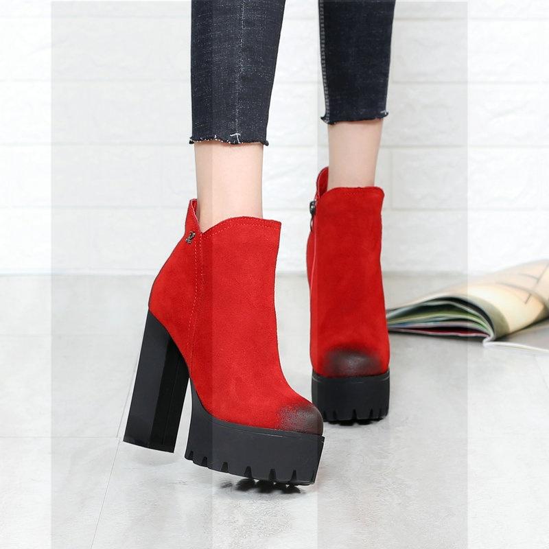 真皮圆头粗跟2018秋冬新款防水台女鞋百搭超高跟短靴牛皮马丁女靴SN5536 红色 加棉