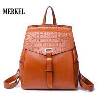 莫尔克MERKEL 油蜡皮复古英伦风双肩包大包简约大容量休闲女士背包邮差包