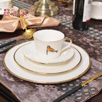 墨菲 欧式美式样板间餐桌西餐陶瓷餐具套装 刀叉勺西餐盘咖啡杯