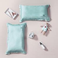 北欧夏季60支纯色天丝儿童枕套刺绣冰丝凉枕头套30x50乳胶枕套 浅葱 枕套一只
